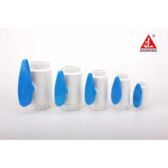 Küresel Vana - 40mm - Beyaz ( Mavi Kulplu )